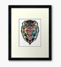 stencil lion Framed Print