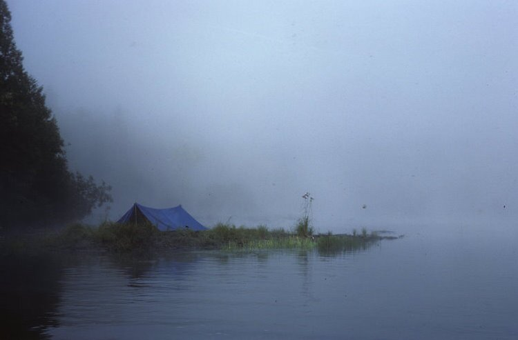 blue tent in the early morning mist by bertspix