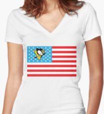 USA Penguins Flag Women's Fitted V-Neck T-Shirt