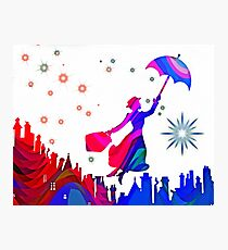 Mary Poppins Watercolor Design  Photographic Print