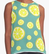 Lemon slices on a light turquoise background Contrast Tank