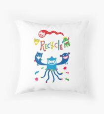 Recycle Monsters   Throw Pillow
