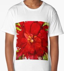 Red Flower Alcohol Ink Long T-Shirt