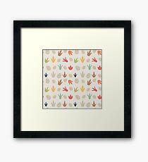 Dinosaur Pattern - Eggs & Footprints Framed Print