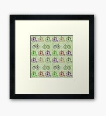 Pastel Green Illustration of Bicycle, Penny Farthing and Velocipedes Framed Print
