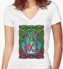 STONER ROCK - bright no leaf Women's Fitted V-Neck T-Shirt