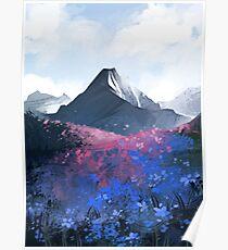 Póster Montaña azul