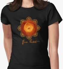Fire Heart Mandala Womens Fitted T-Shirt
