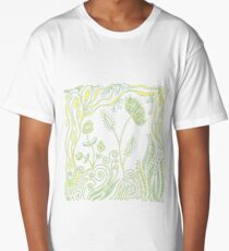 Whimiscal Floral Doodle Art Design - Green and Yellow Long T-Shirt