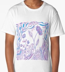 Whimiscal Floral Doodle Art Design - Lavender and Blue Long T-Shirt