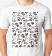 Pattern Traditional Tattooing Style. Tattoo Old School Retro Vintage. Unisex T-Shirt