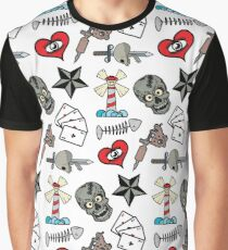 Pattern Traditional Tattooing Style. Tattoo Old School Retro Vintage. Graphic T-Shirt