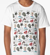 Pattern Traditional Tattooing Style. Tattoo Old School Retro Vintage. Long T-Shirt