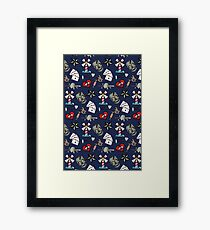Pattern Traditional Tattooing Style. Tattoo Old School Retro Vintage. Framed Print