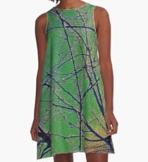 Colorful Green and Red Bough Design A-Line Dress