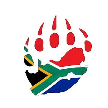 South African flag bear paw by BearYourArt