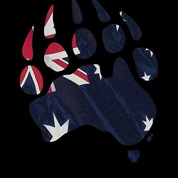 Oz Bear paw - true blue flag by BearYourArt