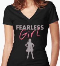 FEARLESS GIRL - Original Grey/Pink Women's Fitted V-Neck T-Shirt