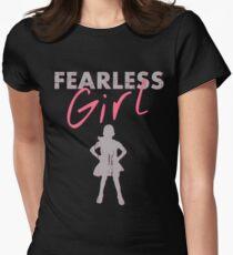 FEARLESS GIRL - Original Grey/Pink Womens Fitted T-Shirt