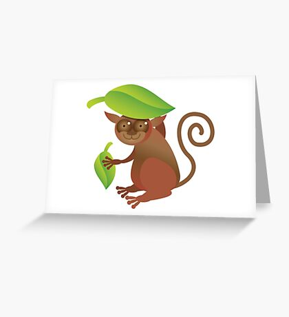 A TARSIER wild animal of the Phillipines hiding under leaves Greeting Card