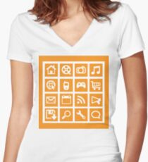 Web icon graphics (orange) Women's Fitted V-Neck T-Shirt