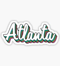Atlanta white retro Sticker