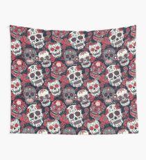 Sugar Skull Pattern Red Wall Tapestry