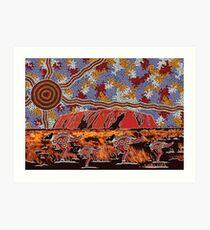 Uluru   Ayers Rock - Authentic Aboriginal Arts Art Print