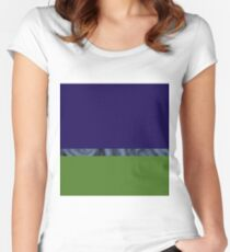 Abstract water landscape sky blue green Women's Fitted Scoop T-Shirt