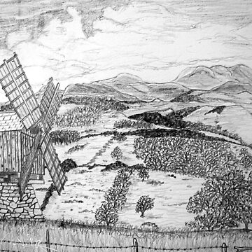 My pencil drawing of a Traditional Romanian Windmill with a View, Barda Village by ZipaC