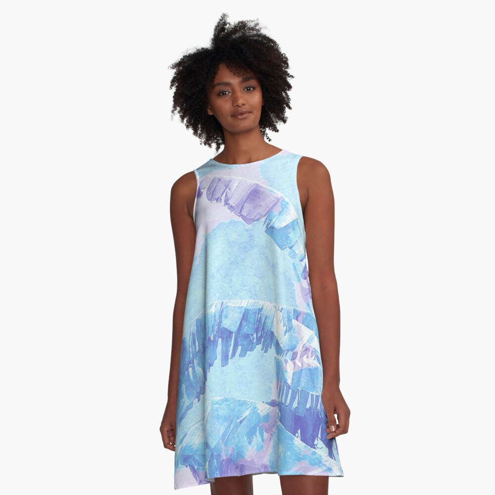 Banana Jungle - Blue and Pink A-Line Dress Front