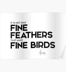 fine feathers, fine birds - aesop Poster