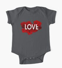 Love Red Floral Hibiscus illustrated botanical art typographic design Kids Clothes