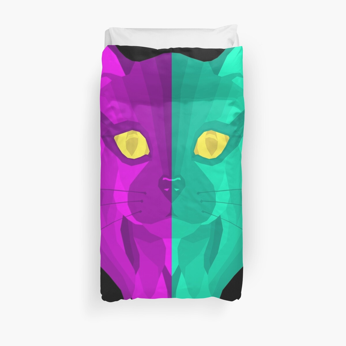 Illustration Cat Face Pink Blue Design by SusurrationStud