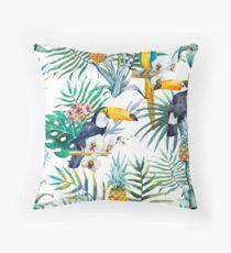 Tropical summer Pineapple Parrot Bird watercolor  Throw Pillow