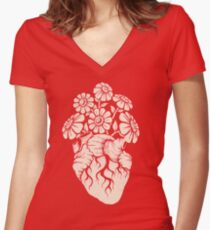 Blooming Heart Women's Fitted V-Neck T-Shirt