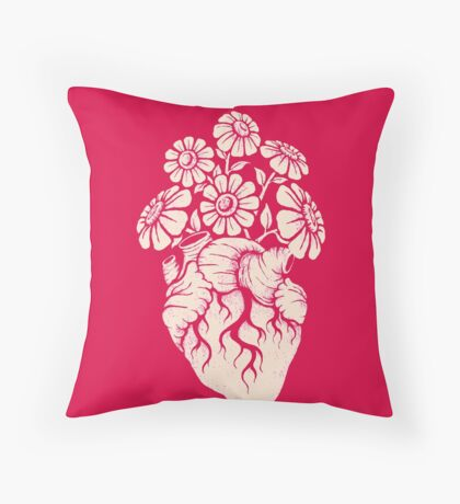 Blooming Heart Throw Pillow