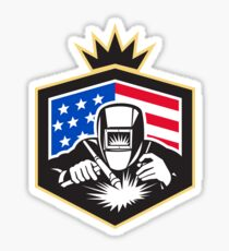 Welder Arc Welding USA Flag Crest Retro Sticker