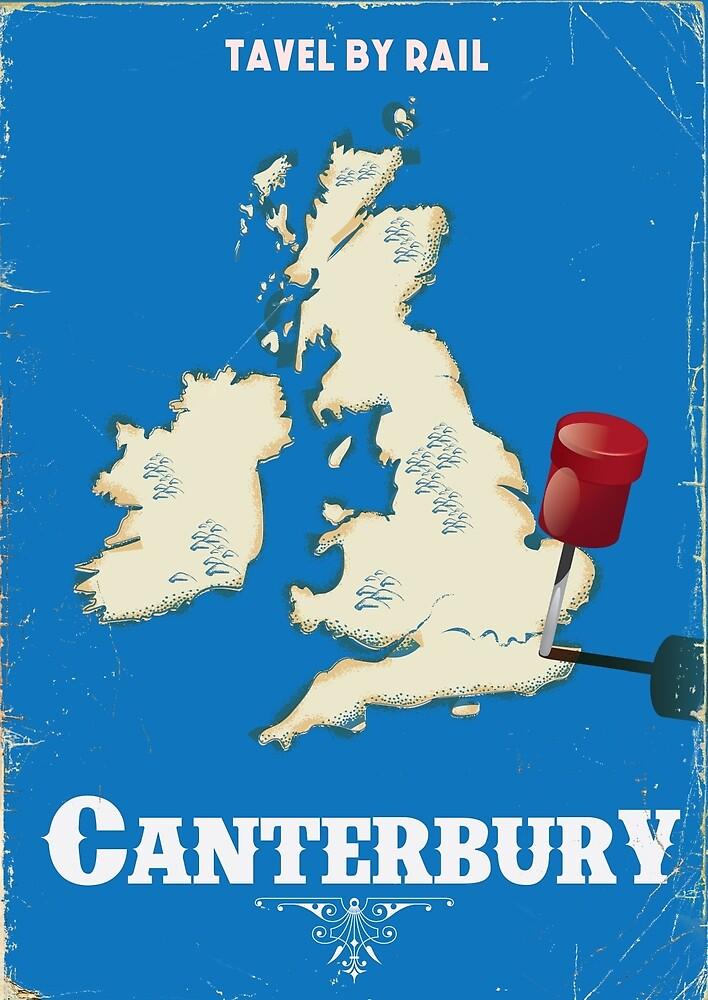 canterbury Vintage rail travel poster by vectorwebstore