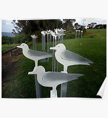 Seagulls,Sculpture Bermagui,Australia 2017 Poster