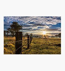 Fenceline leading to sunrise Photographic Print