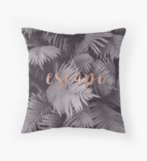 Rose gold escape in the shadows Throw Pillow