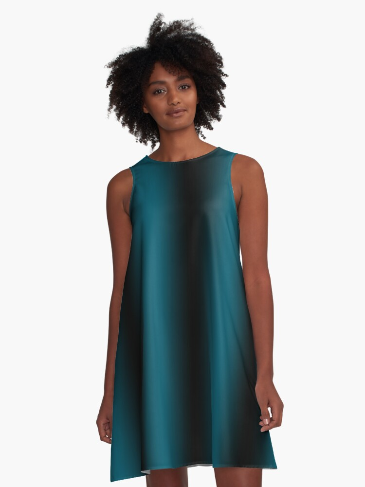 Teal fading through the night A-Line Dress Front