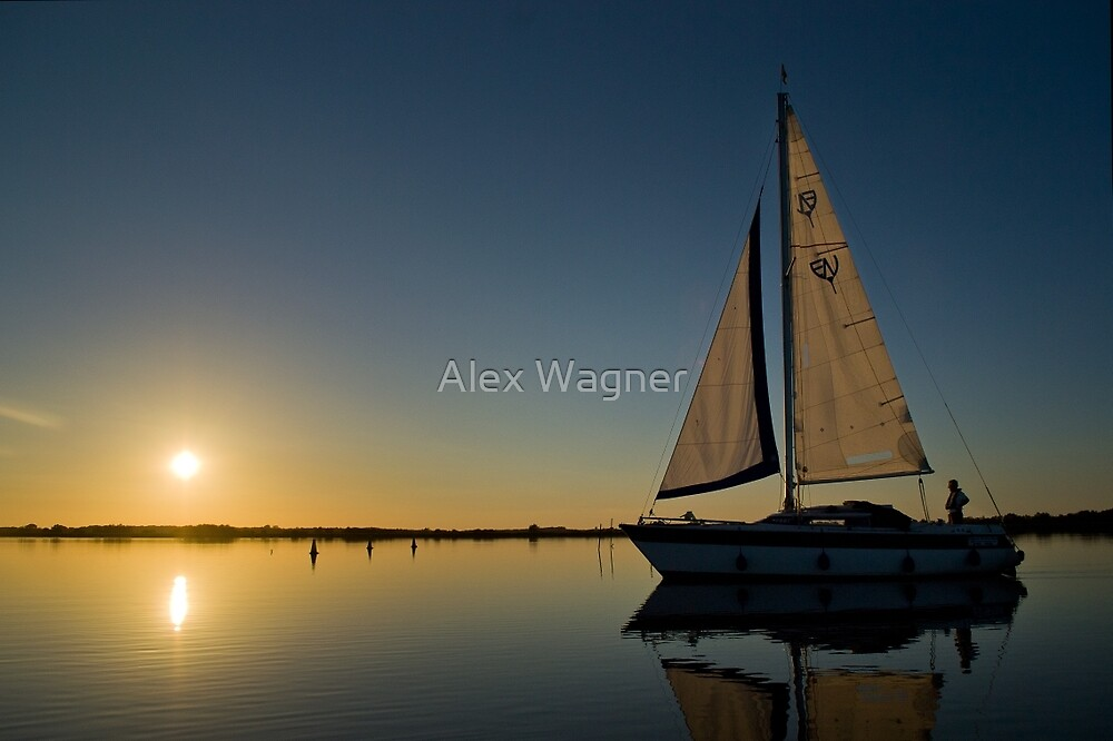 Yacht at Sunset #2 by Alex Wagner