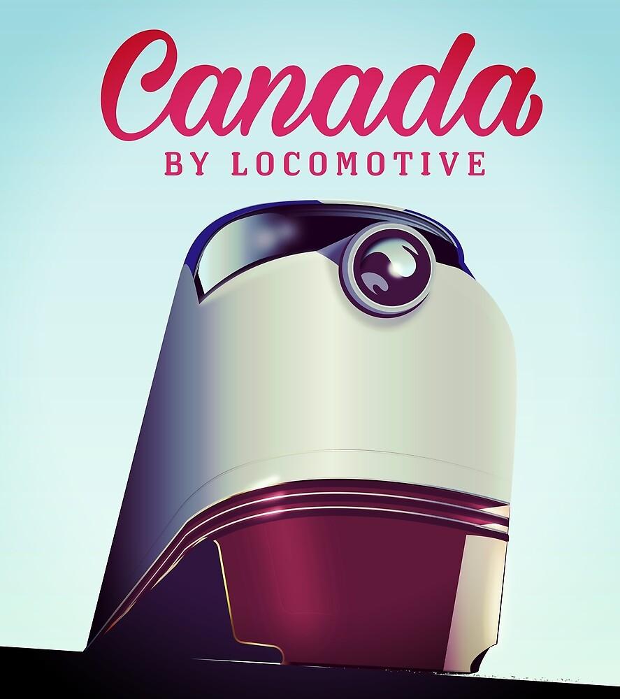 Canada By locomotive 1950s train poster  by Nicholas Greenaway