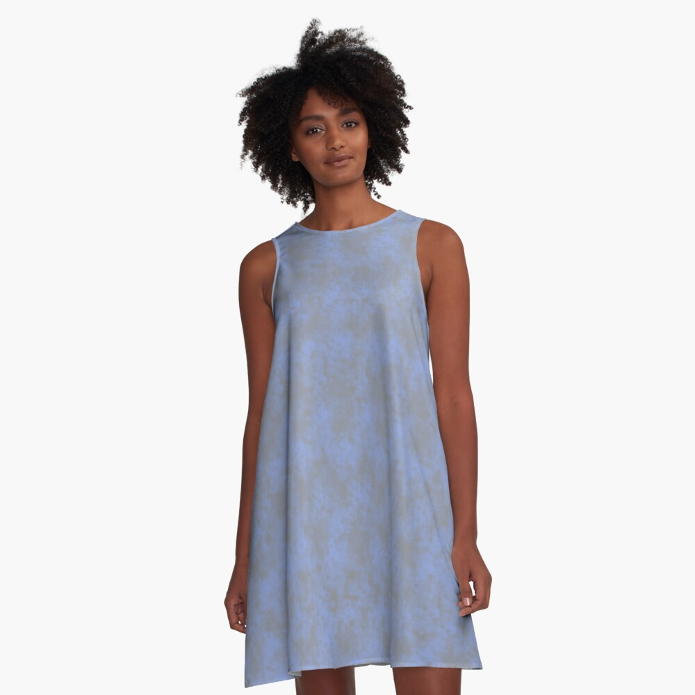 Light Blue Pixel Design A-Line Dress Front