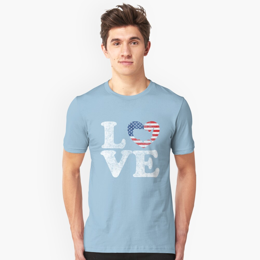 LOVE USA Distressed US Flag and Map in Heart T-Shirt Unisex T-Shirt Front