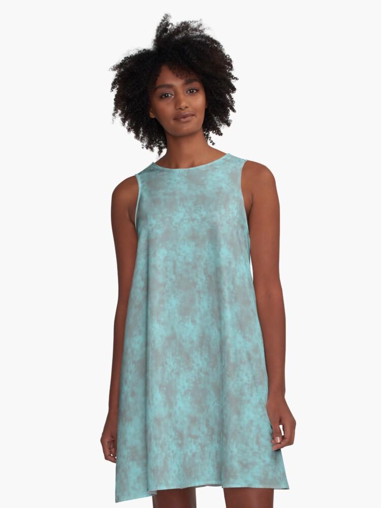 Light Teal Pixel Design A-Line Dress Front