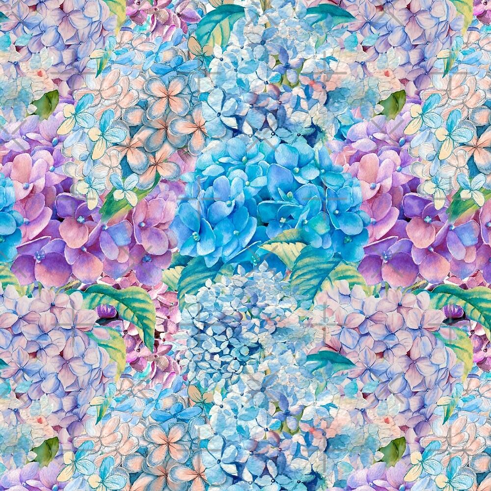 Blue Watercolor Spring Pastel Hydrangea Flower Pattern by UtArt