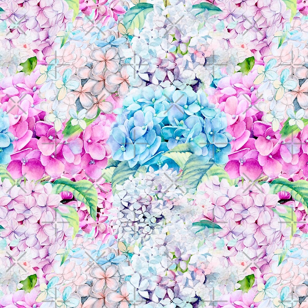 High Key Watercolor Spring Pastel Hydrangea Flower Pattern by UtArt